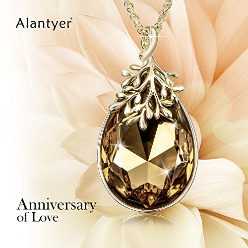 Alantyer-Happy-Olive-Leaf-Pendant-Necklace-for-Women-with-Teardrop-Swarovski-Crystal-18K-Gold-plated-November-Birthstone-Ideal-Christmas-Gift
