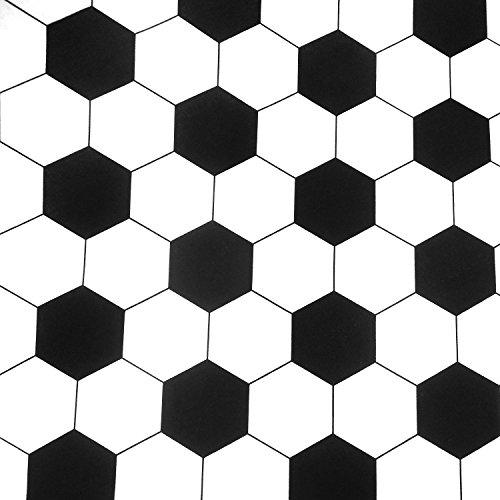 0,5m Stoff Fußball Sechseck schwarz-weiß Baumwolle Meterware 140cm breit