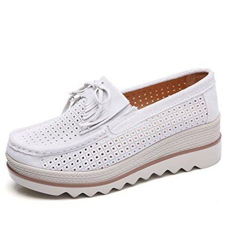 b9eac2db649 HKR Women Suede Platform Sneakers Fashion Summer Ladies Slip On ...