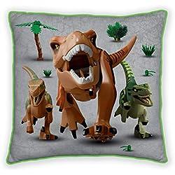 Cojín Cuadrado de Dinosaurio con diseño de Jurassic World, Producto Oficial, súper Suave, de Dos Caras, Cualquier habitación de los niños o Dormitorio, 40 x 40 cm