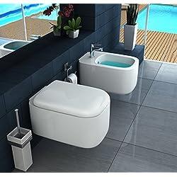 Sanitari sospesi squadrati wc e bidet con copriwater con chiusura ammortizzata