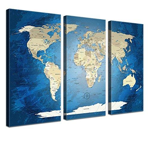 LanaKK mapamundi con Corcho para Fijar los destinos - Lámina Sobre Bastidor Camilla en Azul, Enmarcado en Tres Partes, 120 x 80 cm, español