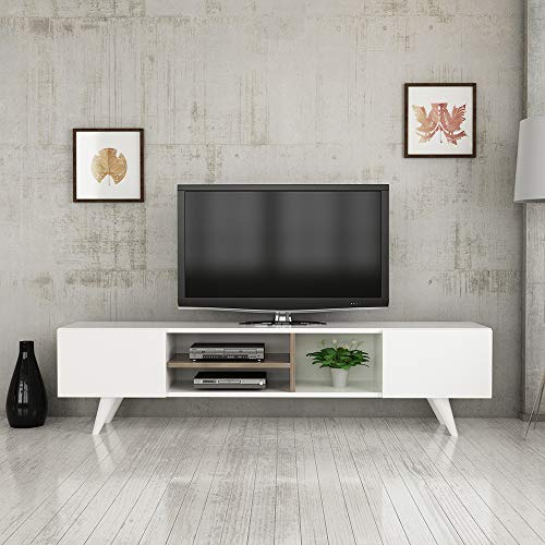 MINAR by Homemania Mobile TV Dore, melamina, PVC, White/Walnut, L160xP29,7xA40,6 cm