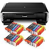 Canon Pixma iP7250 mit WLAN, Fotodrucker und CD-Bedruck, Auto Duplex Druck Tintenstrahldrucker USB Kabel Set 20 IC-Office XL Tintenpatronen (Originalpatronen Nicht im Lieferumfang)