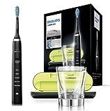 Philips Sonicare DiamondClean Elektrische Zahnbürste HX9359/89, Schallzahnbürste mit 5 Putzprogrammen, Timer, USB-Reise-Ladeetui und Ladeglas, schwarz