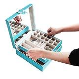 JackCubeDesign Jewelry Organizer Box   Leather   25 Sezioni   Supporto per vassoio e specchio (Sky Blue, 26 x 26 x 9,1 cm)  : MK356B