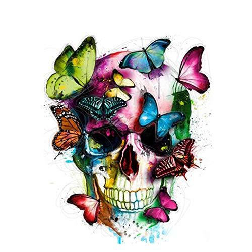 ECMQS DIY Pintar por números para Adultos niños - Mariposa cráneo 40 x 50 cm Lino Lona - DIY Pintura al óleo (Marco)