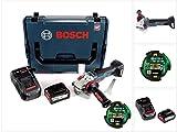 Bosch GWS 18 V-125 SC Professional 125 mm Akku Winkelschleifer in L-Boxx mit GCY 30-4 Connectivity Modul und 1x 6,3 Ah EneRacer Akku und Ladegerät