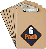 6 x A4 Clipboards - [NEW & IMPROVED] Professional Quality with Sturdy Spring-Loaded Grip & Hanging Hook - Durable Wooden Clip Boards Perfect for Office Work - Eco-Friendly with a Glazed Finish