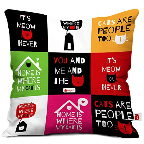 Indigifts Micro Satin Fibre Indibni You and Me Cushion Cover with Filler (White and Multicolour)
