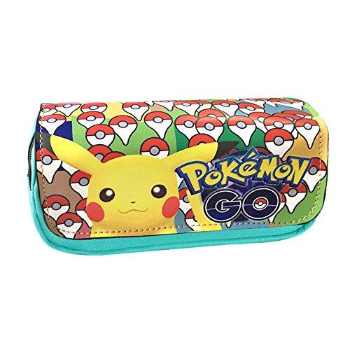 Astuccio a due scomparti, per studenti, design anime/cosplay, per ragazzi e ragazze Pikachu-B