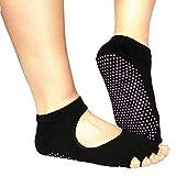 Susenstone Nuovi 5-Toe Socks esercitazione di yoga di ginnastica slittamento non massaggio piedi con completa Grip (Black)