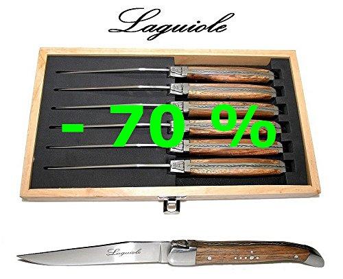 Authentisch Laguiole - 6 Steakmesser - Echtes Braunes Zebra Holz - Klingenstärke: 2,5 Mm - Mit Berühmte Schäferkreuz (Zebraholz Tafelbesteck Set Für 6 Personen - Direkt Aus Frankreich)