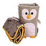 Ensemble Oreiller et couverture de voyage pour enfants –«Tux» Armrest Buddy transforme n\importe quel accoudoir en un oreiller pour enfant confortable – idéal entre 1 an et demi et 4 ans
