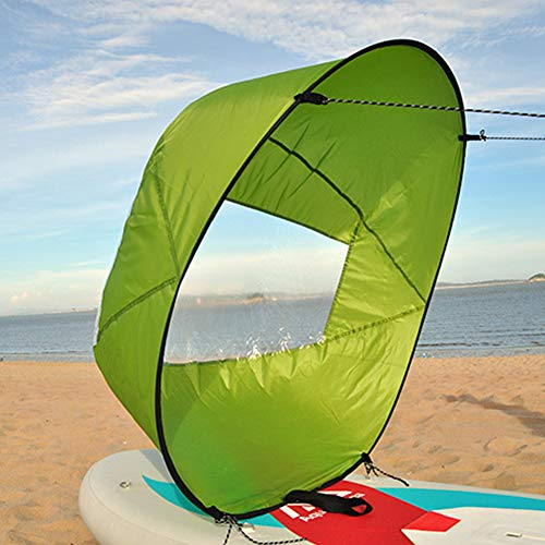 Leoie 42in/108cm Sail Foldable Kayak Boat Wind Sail Sup Paddle Board Sailing Canoe Stroke Paddle Rowing Boats Wind Clear Window Green 108cm