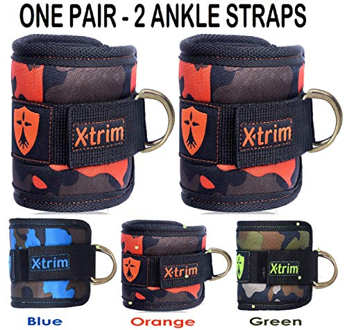 xtrim Durafit Adjustable Neoprene Double D-Ring Ankle Straps for Cable Machines for Men and Women (Orange)