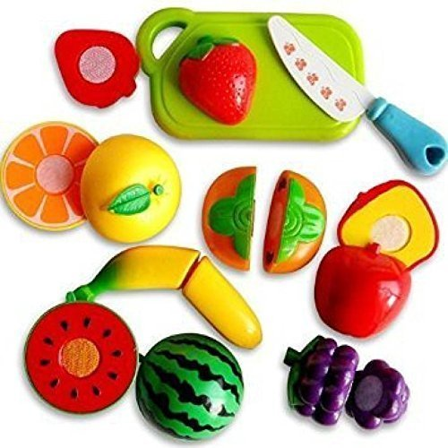 Baby Play Fruits & Vegetables Realistic Sliceable Fruits and Vegetables Cutting Play Toy Set of 8, Multi Color
