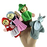 Ularma 4PCS Little Red Riding Hood Finger Puppets Christmas Gifts Baby Educational Toy