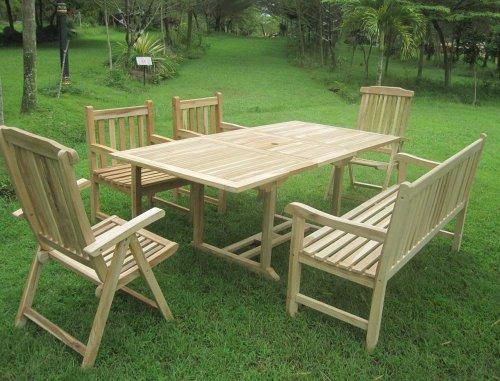 SAM® Gartengruppe Caracas, 6 teilig, Gartenmöbel aus Teak-Holz, 2 x Garten-Hochlehner Aruba, 2 x Garten-Sessel, 1 x Garten-Bank, Auszieh-Tisch, Teakholz-Möbel, Massivholz-Möbel für Garten Terrasse