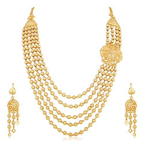 Apara Gold Plated Traditional Five Line Mala Necklace Earring One Gram Jewellery Set for Women