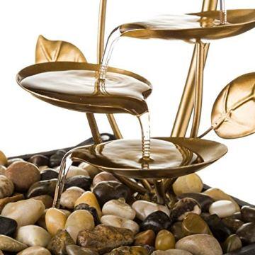 Fuente de Interior de Agua en Metal Dorada Oriental Sol Naciente para decoración - LOLAhome 4