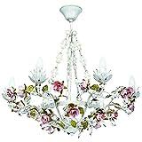 Lámpara colgante de cristal, estilo clásico florentino, de metal, diámetro de 67cm, incluye 6focosE14 6x40W 230V.