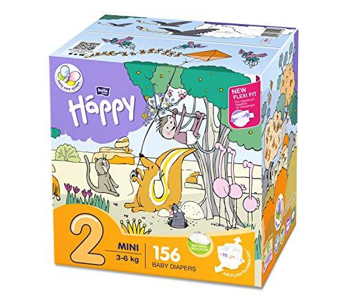 Bella Baby Happy - Pannolini taglia 2 Mini con indicatore di urina, confezione da 1 (1 x 156 pezzi)