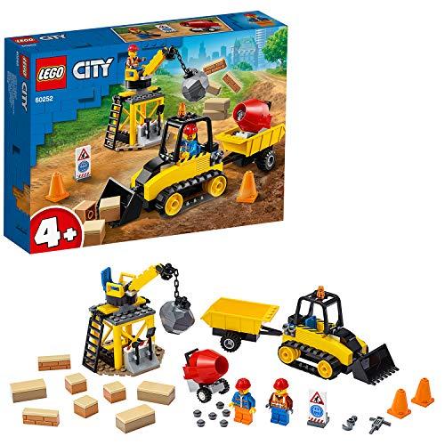 LEGO City Great Vehicles- Bulldozer da Cantiere con Pala Funzionante, Gru con Palla da Demolizione,...