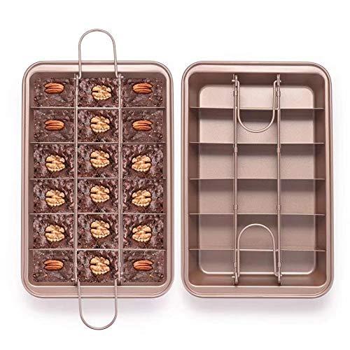 EKKONG Brownie Teglia, Stampo Brownie 18 cavità, Teglia per brownie con divisori per pasticceria...