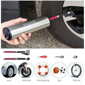 GHB Mini Auto-Luftpumpe Elektrischer Luftverdichter für Fahrrad Ball Ballon 150 PSI Portabel Aufladbar mit LCD-Display 3