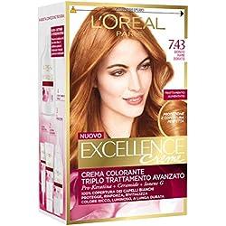 L'Oréal Paris Excellence Creme, Tinta Colorante con Triplo Trattamento Avanzato, Copre i Capelli Bianchi, 7.43 Biondo Ramato Dorato