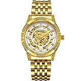 BINLUN Herren Uhren Analog Automatik mit 18k Vergoldet Edelstahl Armband Skelett BL0018G