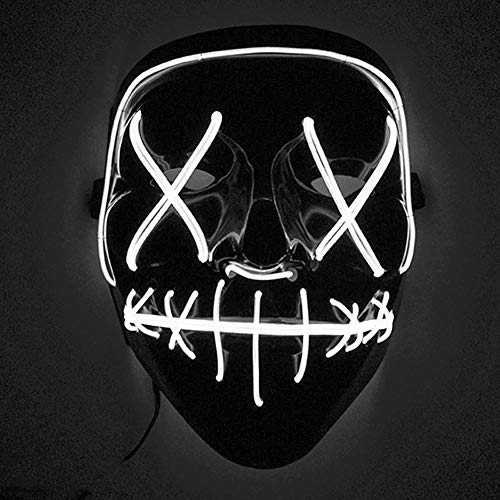 Coromose LED Mask LED Light Up Mask for Festival Cosplay Costume White Light