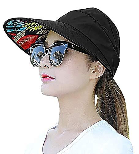 DALUCI Sun Visor Hats for Women Large Wide Brim UV Protection Summer Beach Packable Cap (Black)