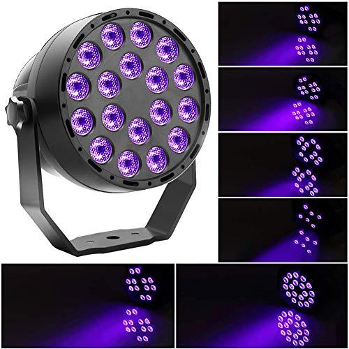 U`King - Faro a LED UV 3 W x 36 LED, con telecomando e comando DMX, luce notturna per feste,...