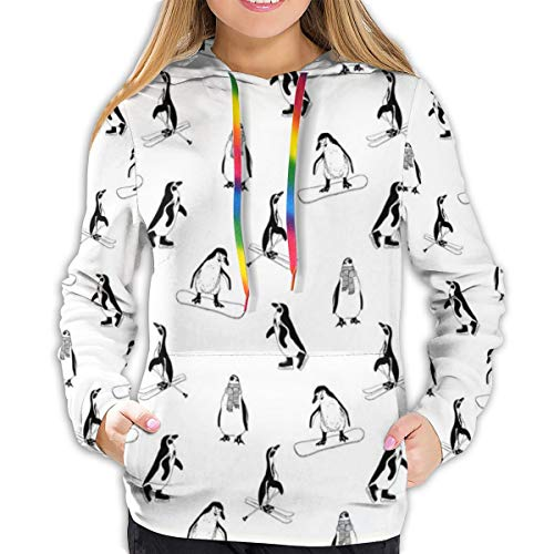 Women's Hoodies Tops,Skiing Penguins On Snowboards Winter Sports Themed Pattern Animal Bird with...