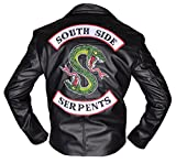 BURNING SKULL BSKULL Riverdale Southside Serpents Faux Leather Jacket Black (MEDIUM)