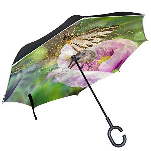 ALAZA unicornio alas de mariposa Poppy auxiliar doble capa resistente al viento Reverse paraguas