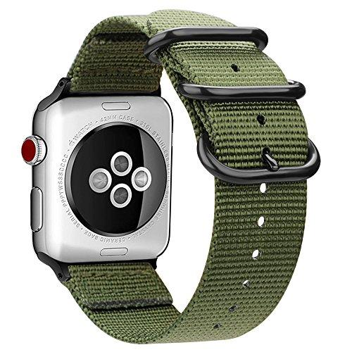 FINTIE Cinturino per Apple Watch 44mm 42mm, Nylon Tessuto Sport Regolabile Band con Fibbia Metallica Cinturini di Ricambio Accessori per Apple Watch Series 5 4 3 2 1, Olive