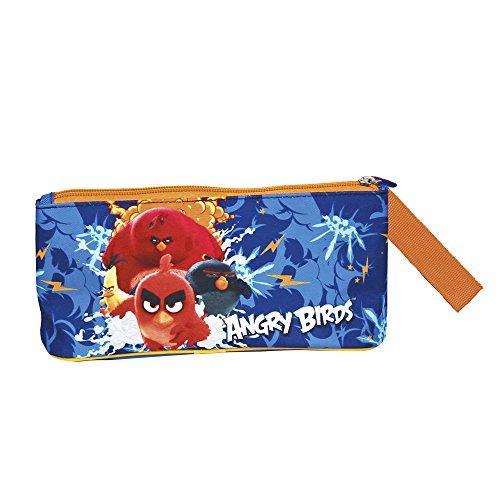 PERLETTI Astuccio Bambino Blu Angry Birds - Pratico Portatutto Scuola Elementare Primaria - Astuccio...