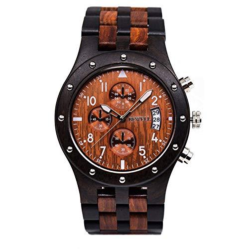 Bewell Orologi multifunzionali da lavoro in legno luminosi con datario cronometro per gli uomini,...