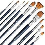 MozArt Supplies Estuche de Pinceles Essentials para Pintura de Acuarela - Set Surtido de 10, cerdas sintéticas, Pinceles de Calidad artística - Ideal para Acuarelas, acrílico y Gouache