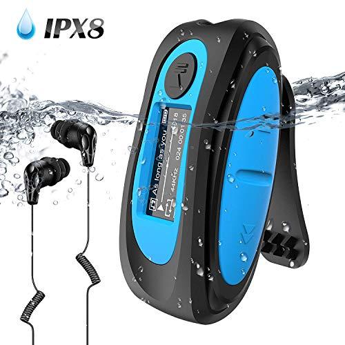 AGPTEK S07 MP3 Acuatico 8GB con Pantalla, Clip Reproductor MP3 Waterproof IPX 8 Soporta Rdaio FM, Aleatorio Modo para Nadar, Correr, Azul