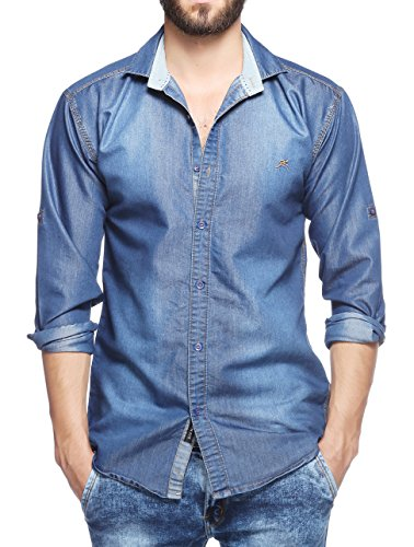 Lafantar Men's Casual Denim Shirt (dms43-m_Blue_Medium)