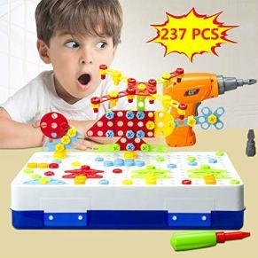 Diseño Taladro Puzzle Juguetes Creativos - Eléctrico Destornillador Construcción Modelos 2D o 3D Bloques Montaje DIY STEM Construcción Educativa Juego de 237 Piezas Kit caja Almacenamiento para Niños