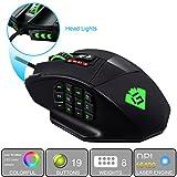GamKoo Varanus 16400 DPI ratón láser programable de alta precisión para juegos MMO con 18 botones programables, 12 botones laterales, 5 perfiles de memoria, bandeja de ajuste de peso