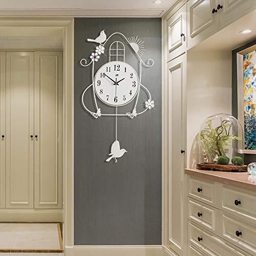 Pendolo con Uccellino cucù Orologio da Parete Vintage Design Moderni Decorazioni Casa Silenzio Regalo Originale Compleanno Natale 70 * 36Cm,Bianca