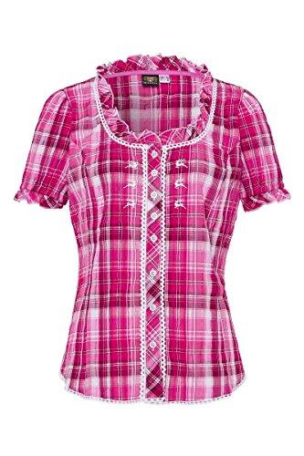 OS Trachten Damen Trachtenbluse Kurzarm Pink Karo Stretch 002617