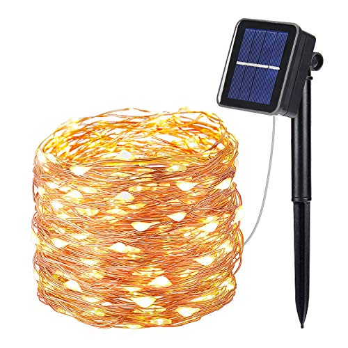 OxyLED Cadena de luces solares para exteriores (100 ledes, 8 modos, resistente al agua IP65, temporizador para exterior, iluminación interior, jardín, boda, fiesta, blanco cálido)