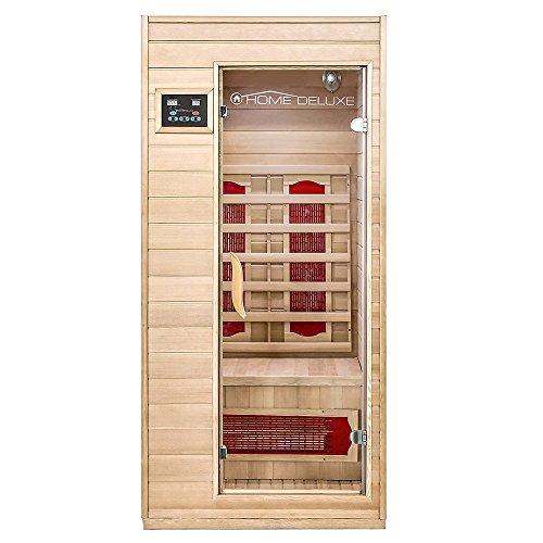 Home Deluxe - Infrarotkabine - Redsun S - Keramikstrahler - Holz: Hemlocktanne - Maße: 90 x 90 x 190 cm - inkl. vielen Extras und komplettem Zubehör